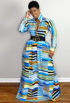 Autumn Africa Stripes Long Maxi Dress with Full Sleeves