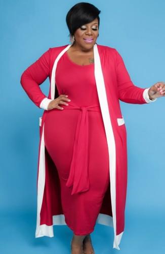 Robe mi-longue décontractée à débardeur rose taille plus d'automne avec salopette assortie