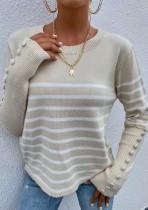 Herbst Casual Beige O-Ausschnitt Streifen Langarm Pullover