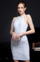 Summer White Sequins string ombro midi elegante festa deress