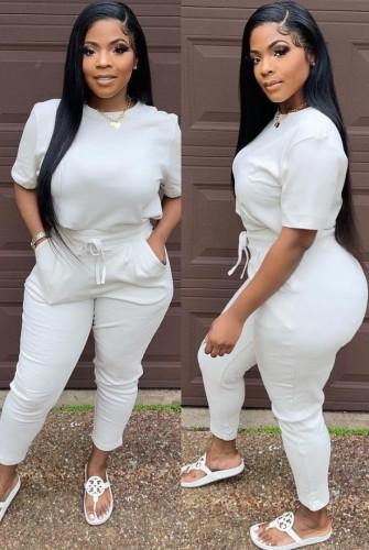 Conjunto de calça e camiseta de manga curta cinza casual verão com decote O