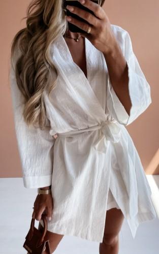 Vestido Blusa Outono Branco Holiday Manga Longa com Cinto