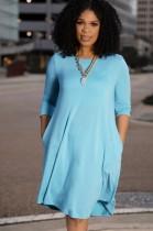 Abito camicia casual blu con taschino o-collo autunnale
