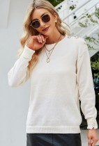 Herbst Lässige weiße O-Ausschnitt-Langarm-Pullover