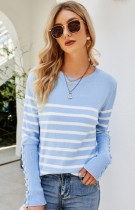 Herbst Casual Lt-blau O-Ausschnitt Streifen Langarm Pullover
