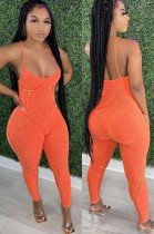 Sommer Casual orange Träger rückenfreier Jumpsuit