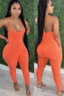 Zomer Casual oranje bandjes jumpsuit zonder rug
