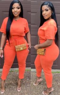 Summer Casual orange O-neck short-sleeve T-shirt and pant set