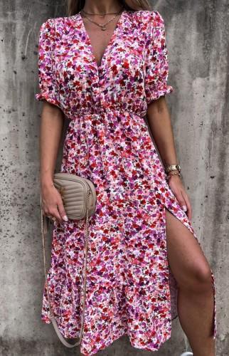 Vestido longo de verão floral com decote em V com fenda