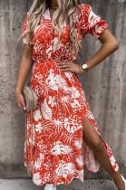 Summer Floral Pint V-Neck Slit Long Sundress