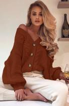 Herbst Puffärmel Knopf bis V-Ausschnitt Loser Pullover Mantel Braun