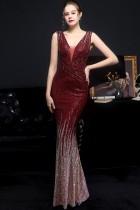 Vestido de noite formal formal sem mangas com decote em V vermelho