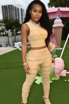 Summer LT-jaune rayé ensemble gilet et pantalon assortis