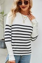 Herbst Lässige weiße O-Ausschnitt-Streifen-Langarm-Pullover