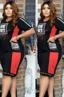 Vestido a media pierna con estampado de letras de bloques de color rojo de talla grande de verano con bolsillos