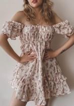 Yaz Tatlı Çiçekli Düşük Omuz Fırfırlı A Kesim Mini Elbise