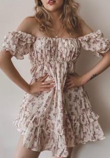 Mini abito a trapezio arricciato con spalle floreali dolce estivo