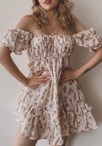 Summer Sweet Floral Off Shoulder Rüschen A-Linie Minikleid