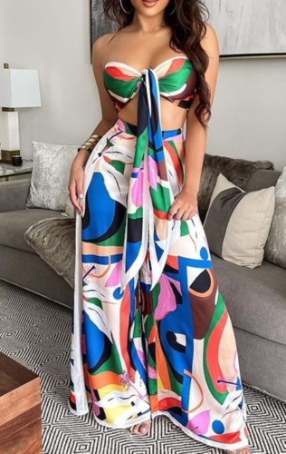 Summer Sexy Painting Pirnt Bandeau Top et High Wasit Wide Pants Set