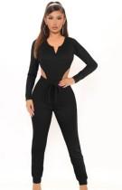 Autunno Casual nero manica lunga body e pantalone coordinato