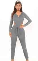 Completo coordinato per body e pantaloni a maniche lunghe grigio autunno casual
