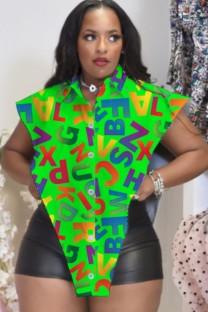 Зеленая блузка нестандартной формы с разрезом Summer Print