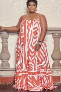Vestido largo con tirantes estampados en blanco y naranja de talla grande de verano