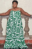 Summer Plus Size White and Green Print Strap Maxi Dress