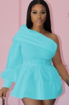 Yaz Seksi mavi bir uzun kollu Eğik yaka kapalı omuz mini elbise