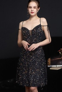 Vestidos de festa elegantes de lantejoulas pretas sem mangas com alça em A