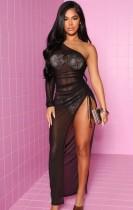 Summer Sexy nero monospalla vedere attraverso il vestito lungo con spacco