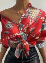 Herfst Casaul retro bedrukt overhemd met lange mouwen en knoopsluiting