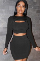 Autumn Casual black cut out long sleeve crop top and mini skirt matching set