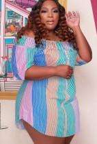 Yaz artı boyutu çok renkli şerit kapalı omuz yarım kollu gömlek elbise