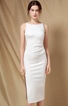 Zarif Beyaz Yan Bölünmüş Kolsuz Yuvarlak Yaka Dar Resmi Midi Elbise