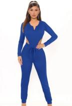 Conjunto de pantalón y body de manga larga azul casual de otoño a juego