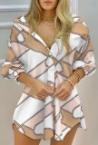 Sonbahar Casaul Zincir Baskılı Uzun Kollu Gömlek Elbise