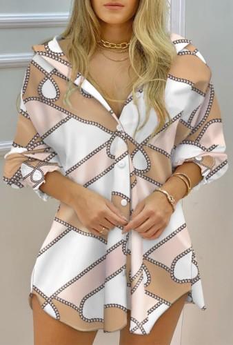 Automne Casaul - Robe chemise à manches longues et chaîne imprimée
