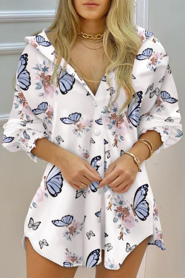 Sonbahar Casaul Çiçek Kelebek Baskılı Uzun Kollu Gömlek Elbise
