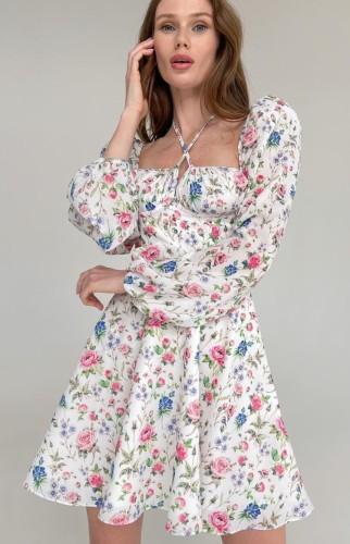 Herbst Blumendruck Schatz Neckholder A-Linien Kleid mit Blase Langarm