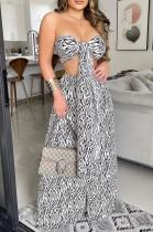 Summer Sexy Zebra Graphic Pirnt Bandeau Top y High Wasit Conjunto de pantalones anchos