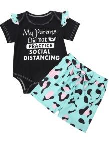 Bodysuit preto verão bebê menina manga curta e shorts estampados