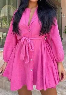 Autunno Casual rosa bottone aperto con cintura manica lunga Abito midi con volant