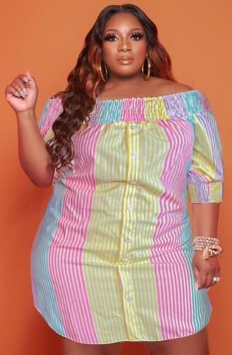 Robe chemise d'été grande taille à rayures multicolores et épaules dénudées