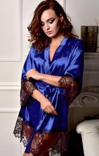 Pijama de bata de encaje y satén azul sexy