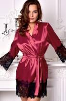 Sexy roter Pyjama aus Satin und Spitze zum Flicken