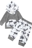 Autunno Kids Dinoscaur Pint Felpa con cappuccio e pantaloni con coulisse abbinati