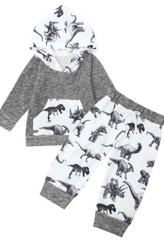 Autumn Kids Dinoscaur Pint Hoody and Matching Drawstring Pants Set