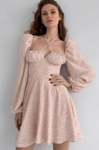 Herbst Pink Floral Sweetheart Neckholder A-Linien Kleid mit Bubble Long Sleeve