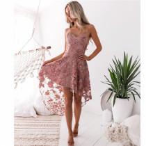Elegante vestido de fiesta de flores con tirantes altos y bajos